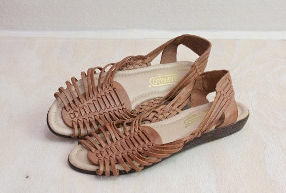 1d2743110c48 Vintage Caramel Leather Huarache Sandals Sz 9 by claudedonohoshop
