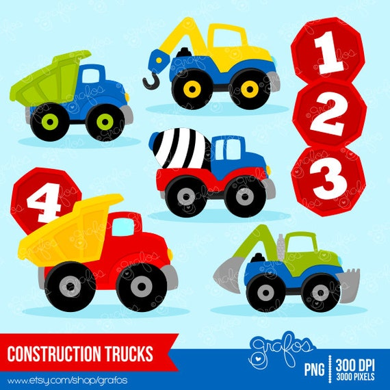 CONSTRUCTION TRUCKS Digital Clipart Trucks Clipart By Grafos