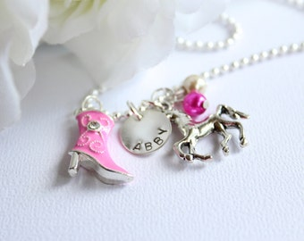 Pink CowGirl Boot Girls Sterling Silver Personalized Hand Stamped Name Horse Necklace, Pink Boots, Cow Girl Necklace -FREE Gift Packaging