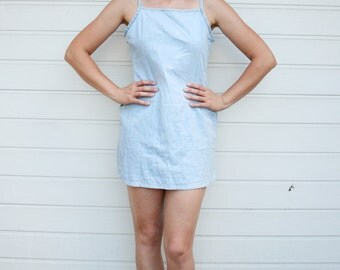 Vintage 90s Grunge Spaghetti Straps Light Blue Denim Mini Dress