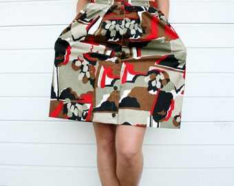 Vintage 70s Abstract Print High Waist Full Pockets Button Down Midi Skirt