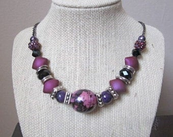 Purple and Black Statement Necklace