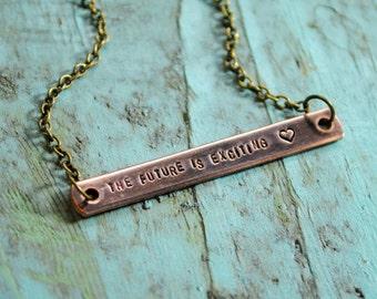 SALE Copper Bar Future Necklace