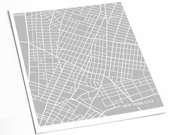 New York City Map Art Print / Downtown NYC Poster Art Print / 8x10 Abstract Line Art Digital Print / Any color