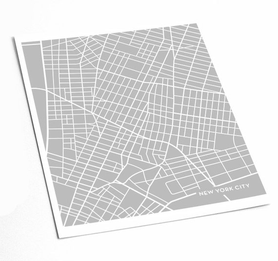New York City Map Art Print / Downtown NYC Poster Art Print / 8x10 Abstract Line Art Digital Print / Any color