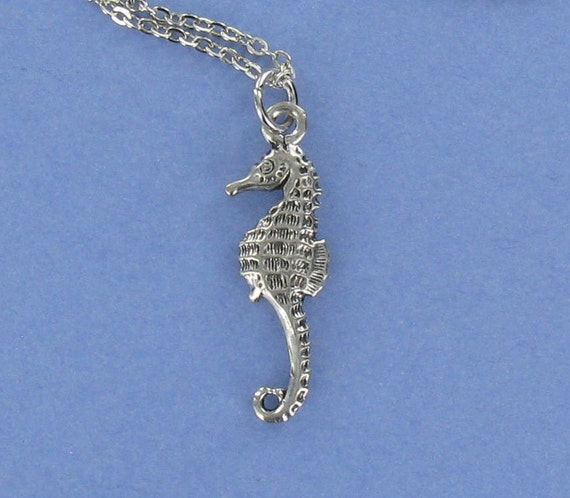 SEA HORSE- Pewter Charm on a FREE Plated Chain