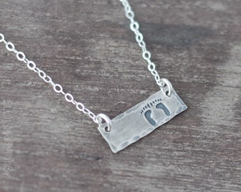 Baby Footprint Necklace - Silver Foot Print Bar Necklace