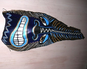 Tiki African Mask on Palm frond