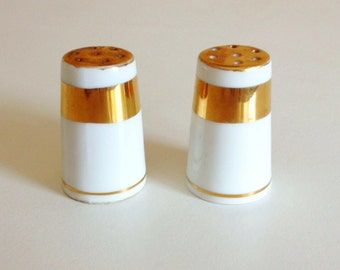 Miniature Gilted Gold & White Antique Salt and Pepper Shakers