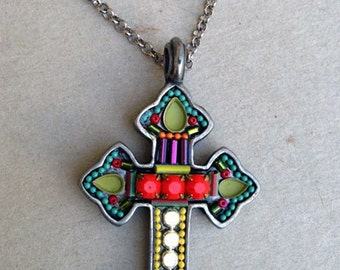 Colorful cross pendant - Pewter based colorful cross pendant with Swarovski crystals and beads - hand-made by Adaya Jewelry