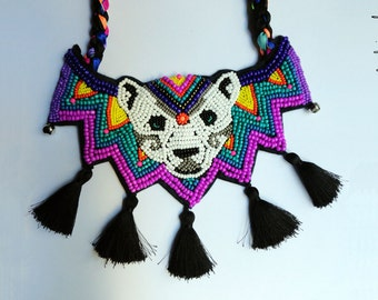 """Tribal colorful neon circus Cocorosie inspired concept oversized necklace with jingle and tassels """"The White Bear"""" - MADE TO ORDER"""