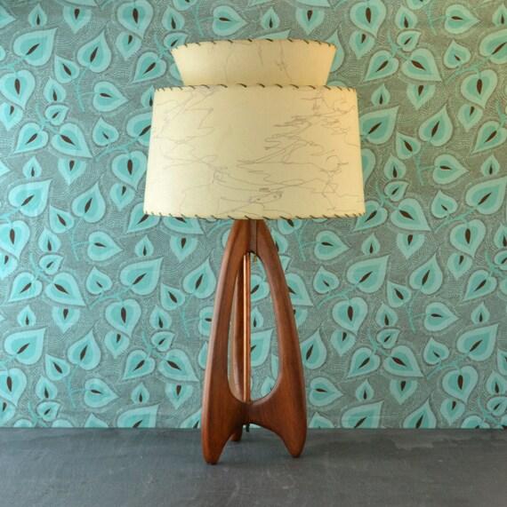 Danish Modern Wood Lamp Fiberglass Shade Mid Century Lamp