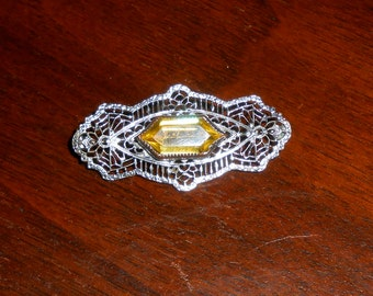 citrine glass and rhodium filigree brooch, Edwardian or 1920s ... very pretty, elegant deco