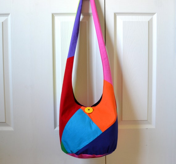 Hobo Bag, Color Block, Sling Bag, Patchwork, Upcycled, Solid Colors, Bright, Colorful, Hippie Purse, Crossbody Bag