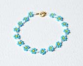 Childrens Bracelet, Girls Forget Me Not Bracelet, Blue Flower Bracelet, Beaded Bracelet, UK Seller