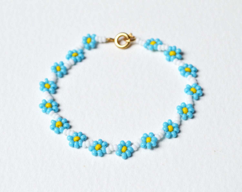 childrens bracelet forget me not bracelet blue flower