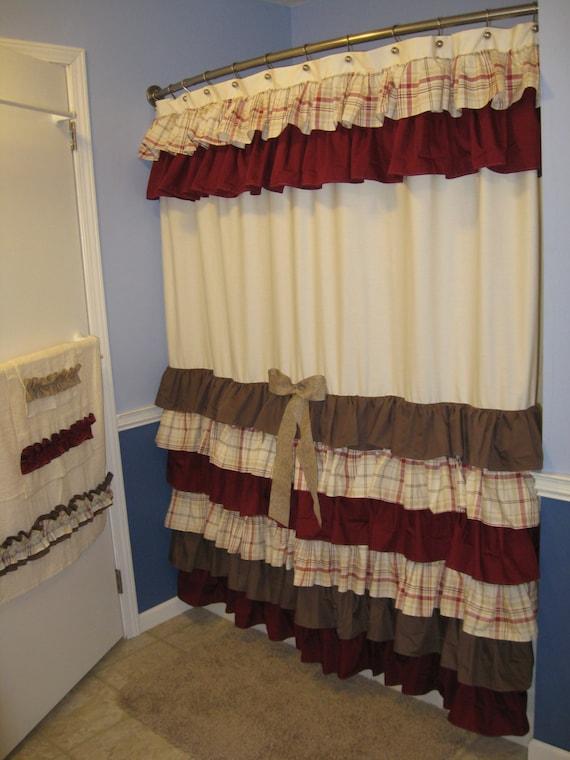 Items Similar To Shower Curtain Cascading Ruffles Custom Designer Fabric Burgundy Chocolate
