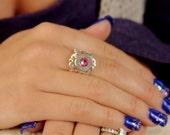 Bullet vintage Ring Pink-October Birthstone