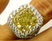 GIA Certified Vintage Estate 9.53ct Solitaire Fancy YELLOW RADIANT Cut Diamond Ring in Micro Pave Platinum setting