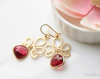 Ruby Red Chandelier Earrings, Ruby and gold jewelry, July birthstone jewelry, Ruby weddings, Bridesmaids gifts, Gift for her