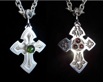 Kismet - The Transfixing Cross of The Green Knight - OOAK Handmade Sterling Silver Tourmaline and Garnet Cross of Legend
