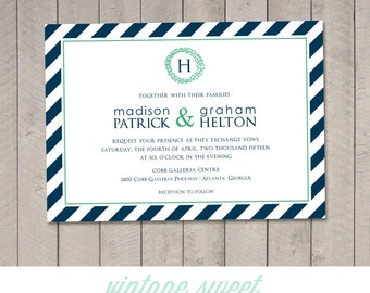 Modern Stripes Wedding Invitation (Printable) DIY by Vintage Sweet