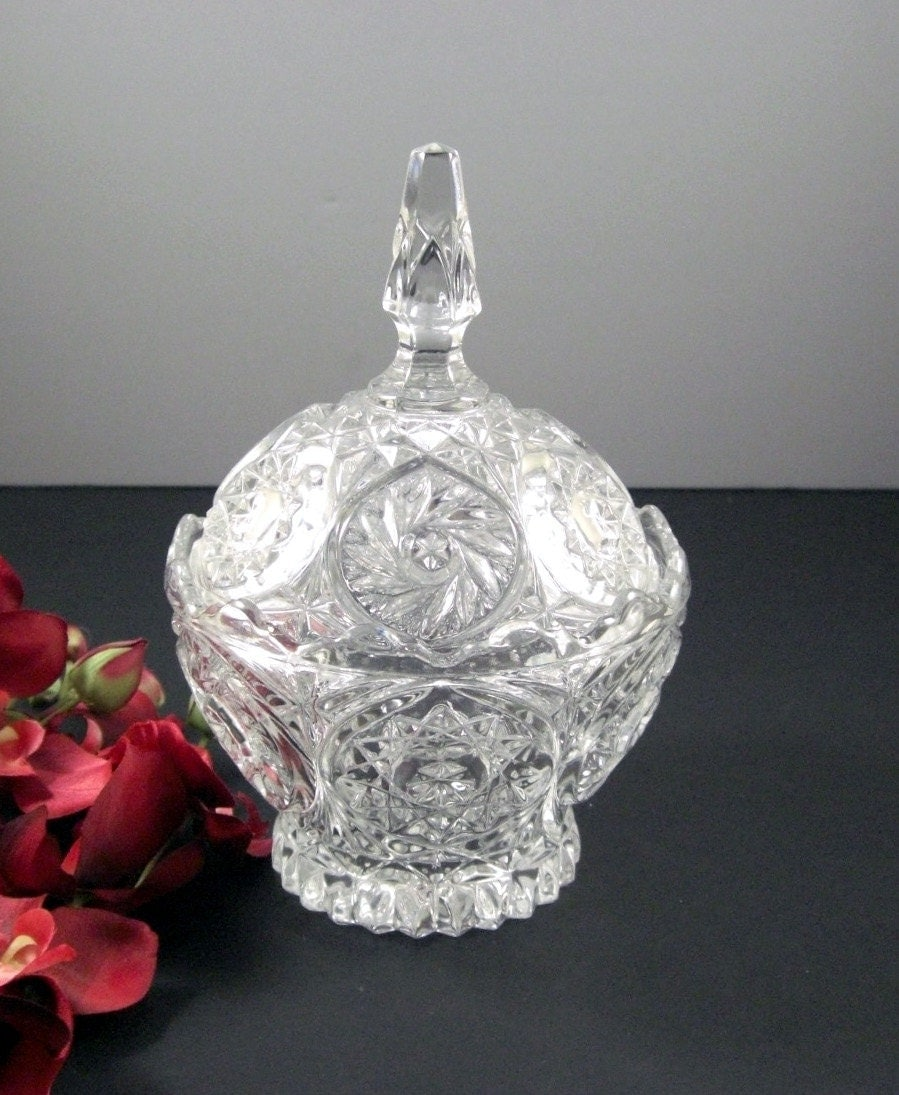 Footed Crystal Candy Dish With Lid Dramatic Tall Finial