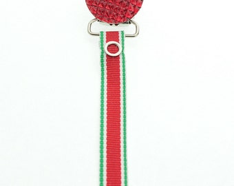 Holiday Pacifier Clip Red Crystal with Matching Ribbon (RHGR)