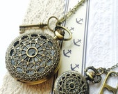 His and Hers Pocket Watch necklace - love Key and lock charm Couple Jewelries VSQ004/003