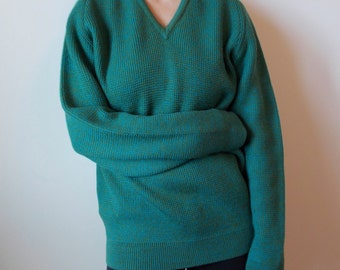 vintage Knit Alpine Slouchy Ski Sweater / Space Dyed - 70s