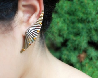 Modern Tribal Earrings -- Vintage Copper Metal Wings, Swarovski Crystals, Make a Statement