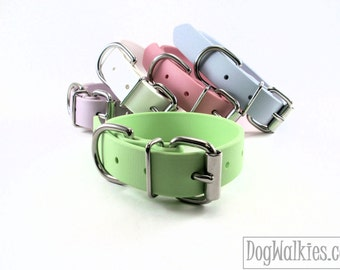 "Biothane Dog Collar / Mint Pastel Green 1"" Wide / Leather Look and Feel / Adjustable / Pastel / Waterproof / 25mm Wide"