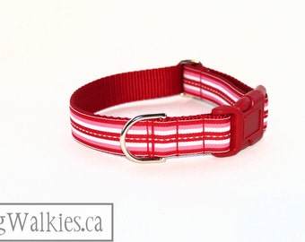 "Candy Stripes Dog Collar / 1"" wide (25mm) / Martingale Collar or Side Release Buckle / Choice of style and size // Red // Pink // White"
