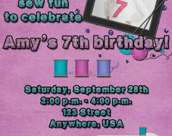 Sewing Birthday Party Invitation