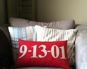 Special Date Lumbar Pillow in Red and Cream-available in other colors