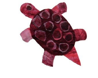 Made to Order Batik Fabric Collage Art T is for Turtle