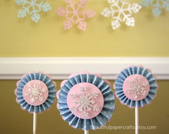 Winter ONEderland | Snowflake Cupcake Toppers | Winter onederland 1st Birthday |  Set of 12