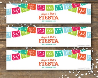 Fiesta Water Bottle Labels Printable - Papel Picado