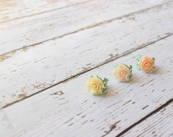 Rose Cabochon Filigree Ring - Peach, Pink, Ivory - Mint Adjustable Ring