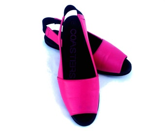 Bright Pink Coasters Peep Toe Sandals size 8