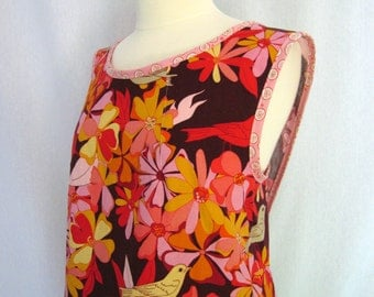Linen Crossback Apron, Smock, Pinafore Apron with Red, Pink, Yellow Birds and Flowers on an Eggplant Background, Valori Wells Jenaveve