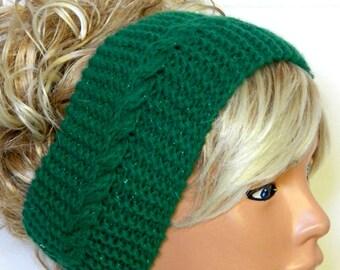 Knitted Head band Knitted Ear Warmer. Silvery Green Yoga Bandana.Winter Warm. Head Dress,Winter Fashion, Hair Bands Hair Coverings for Women