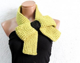 Knitted Bow Scarf Chunky Knitted Bow Ascot Neck Warmer Women's Scarf Fashion Accessories in Mustard, SCARVES, 2014 Trend, Winter Scarfs