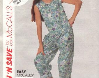 Girls  Summer Jumpsuit Pattern McCalls 5349 Sizes 10 12 14 Uncut