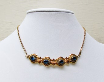 Vintage aqua rhinestone necklace, 1950's gold tone necklace with deep aqua rhinestones