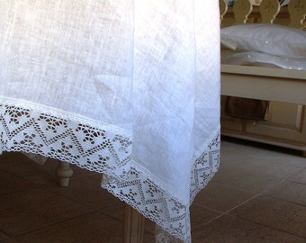 WHITE Linen Tablecloth with wide Linen Lace--made to order--Softened Provence Style--Delicate Table Linens