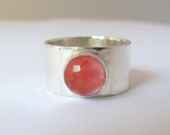 Silver Ring with Cherry Quartz gemstone/ Wide Band/ Size 6.5