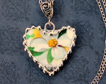 Necklace, Broken China Jewelry, Broken China Necklace, Heart Pendant, White Dogwood, Sterling Silver, Soldered Jewelry