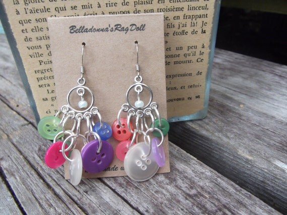 rainbow button chandelier earrings mulit colored fun unique bohemian summer jewelry colorful boho style quirky chic