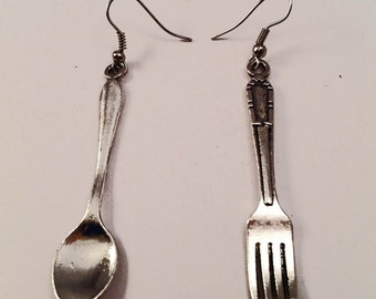 SALE Fashion vintage Handmade earrings with fork and spoon in silver tone nikel free